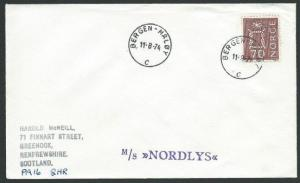NORWAY 1974 cover BERGEN - MALOY TPO cds - MS NORDLYS ship cachet..........39896