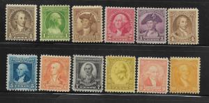 UNITED STATES, 704-715, MNH, WASHINGTON BICENTENARY ISSUE