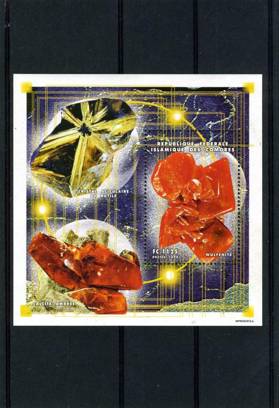 Comoro Islands 1998 Halley's comet Minerals Sheet s/s Perforated mnh.vf.