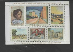 SWEDEN #821  1969  PAINTINGS BY AGUELI    MINT VF NH O.G S/S
