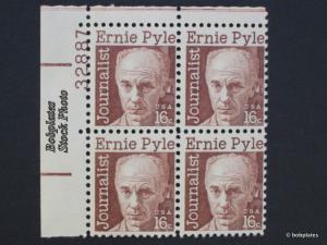 BOBPLATES #1398 Pyle Upper Left  Plate Block 32888 F-VF NH SCV=$2.5