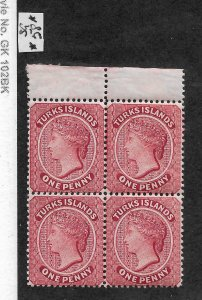 Turks Is 1889,Victoria One Penny Block Perf 14,wmk Crown CA,Sc # 45,VF MNH**OG