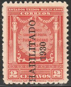 MEXICO 667, 2cents POSTAL CONGRESS, HABILITADO 1930. UNUSED, H OG. F-VF.