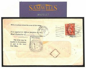 GB WALES Haverfordwest Cover GPO OFFICIAL ENQUIRY Label Whitchurch Salop MS3517