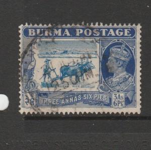 Burma 1938/40 3As 6Pi Used SG 27