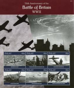 Palau 2015 MNH Battle of Britain 75th Ann WWII 6v M/S Churchill Spitfire Stamps