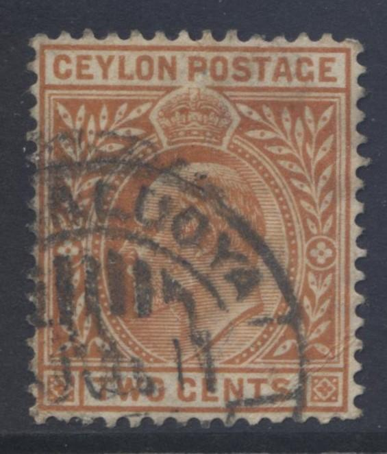 CEYLON -Scott 178- KEVII- Definitive- 1904- Wmk 3- Used -Single 2c Stamp3