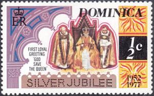 Dominica # 521 mnh ~ 1/2¢ Silver Jubilee - Queen Enthroned