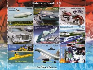 Sao Tome and Principe 2004 Space/Concorde/Trains/Cars/Sheetlet Perforated MNH