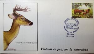 L) 1986 COLOMBIA, LIVE IN PEACE WITH NATURE, RABBIT, ANIMALS, DEER, FDC