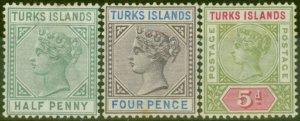 Turks & Caicos Is 1893-95 set of 3 SG70-72 Fine Lightly Mtd Mint