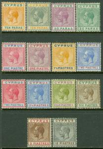 EDW1949SELL : CYPRUS 1921-23 Scott #72-85 Complete. Very Fine, Mint OG. Cat $332