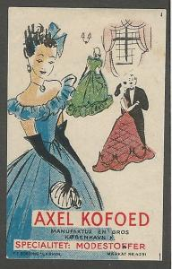 Alex Kofoed, Fashionable Fabrics, Copenhagen, Denmark, Imperf. Poster Stamp