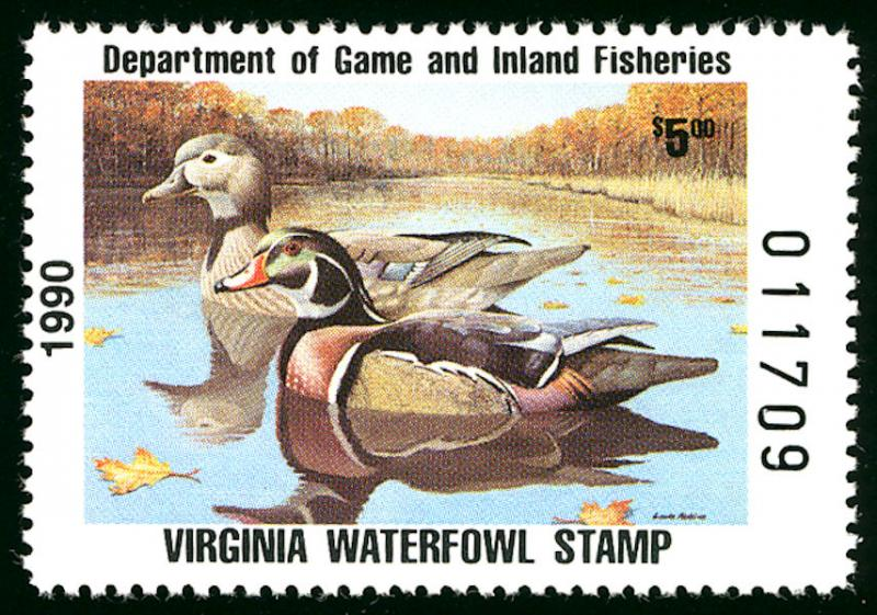 #STATE DUCK Virginia 3 VF/XF mint never hinged, a very fresh state duck stamp...