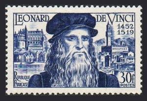 France 682,hinged.Mi 947. Leonardo da Vinci,500th birth.1952.Amboise Chateau,