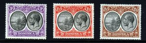 DOMINICA King George V 1923-33 Wmk Mult Script CA Group SG 71 to SG 73 MINT