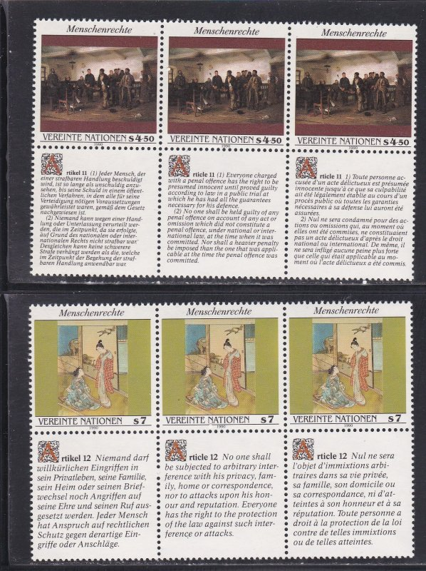 United Nations - Vienna # 108-109, Human Rights Strips of 3 NH, 1/2 Cat.