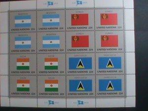UNITED NATION-1987 SC#507-510  U. N. FLAGS SERIES MNH FULL SHEET- VERY FINE