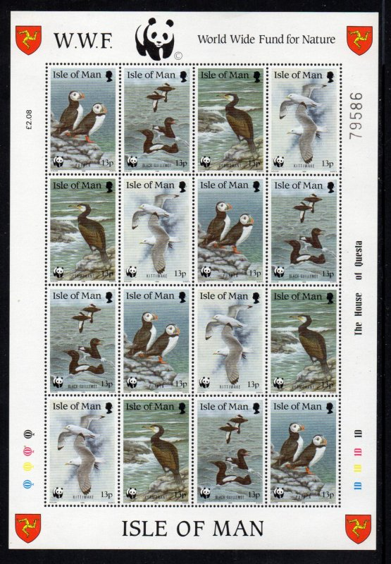 Isle of Man  Sc 399-402 1989 Birds WWF stamp sheet mint NH