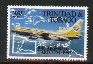 Trinidad Tobago Scott 382 MNH** CARICOM 1983 Airplane  map