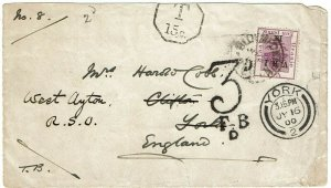 Orange Free State 1900 Bloemfontein JUN 21 cancel on cover to England, due marks