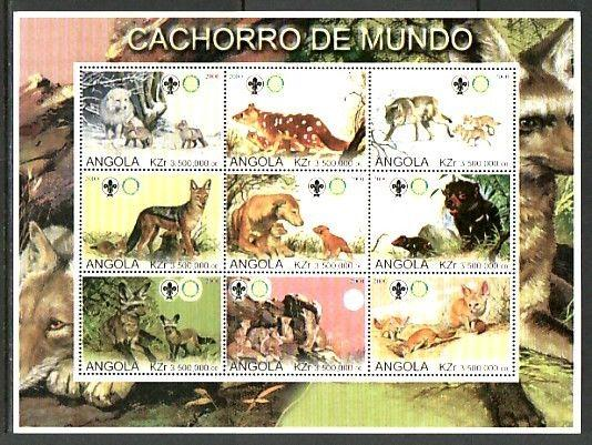 Angola, 2000 Cinderella issue. Wild Dogs, sheet of 9.