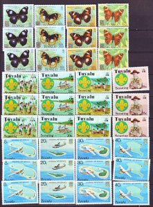 J22229 Jlstamps 1970,-80,s 3 tuvalu set each mnh #50-53,118-121,146-9 topicals