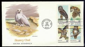 UNITED STATES FDC Owls Block of 4 1978 Fleetwood