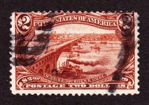 US 293 $2 Trans-Mississippi Used Single Fine appr SCV $1100