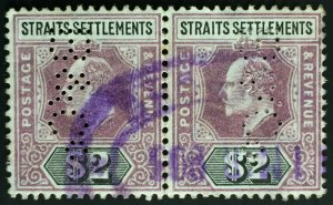 Malaya Straits Settlements 1902 KE VII Crown CA $2 pair PERFIN SG#120 M2514