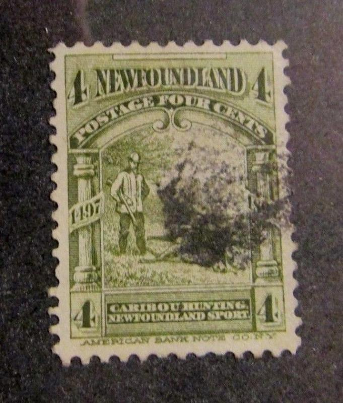 NEWFOUNDLAND Sc #64 Θ used, Caribou hunting postage stamp, fine +