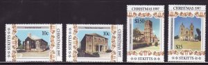 St. Kitts-Sc#430-3- id7-unsed NH set-Christmas-Churches-1997-