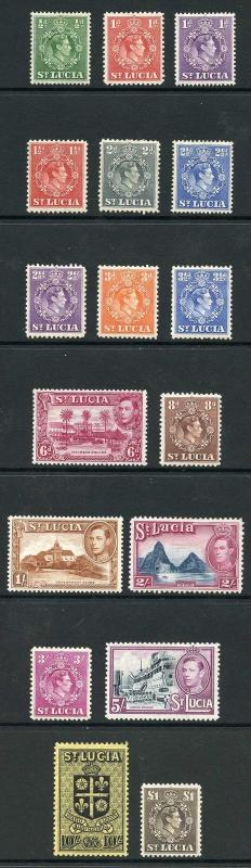 St Lucia SG128a/41 KGVI set of 17 M/M