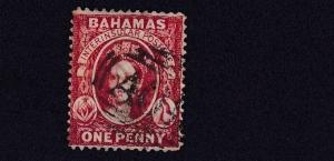 BAHAMAS  1882    S G 42     1D    SCARLET VERMILLION    USED  CAT £60
