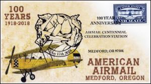 18-357, 2018, Air Mail, Pictorial Postmark, Event Cover, Medford OR, Blue Stamp