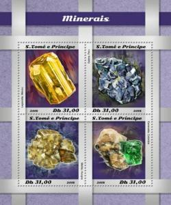 St Thomas - 2018 Minerals on Stamps - 4 Stamp Sheet - ST18503a