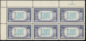 US STAMP #916 – 1943 Overrun Countries: 5c Flag of Greece BLK OF 6