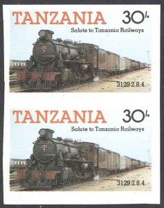 Tanzania Sc# 274 MNH pair IMPERF (ERROR) 1985 30sh Locomotives
