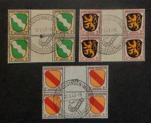 Germany French Occupation 4N1-2,4. Gutter blocks used