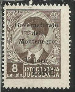 MONTENEGRO 1942 GOVERNATORATO BLACK OVERPRINTED SOPRASTAMPA NERA LIRE 8 D MNH