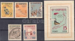 Albania stamp Tokyo Olympics set + block (small spot) MNH 1963 WS115700