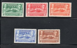 Barbados Sc 202-6 1939 General Assembly 300th  Anniversary stamp set mint