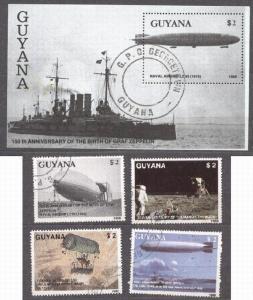 Guyana 1989 Zeppelins, set+perf. sheet, used    M.230