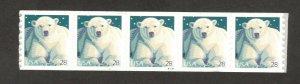4389 Polar Bear PNC Strip Of 5 (V11111) Mint/nh FREE SHIPPING