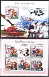 Guinea-Bissau. 2009. Small sheet 4515-19, bl737. Red cross, helicopters, ambu...