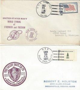 US Naval Cover USS Saint Paul 73  1957, 1971