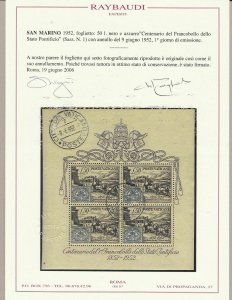 1952 Vatican - Bf N° 1, Centenary Del Stamp Screen State Pontificio