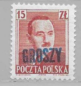 Poland 469 1950 Bierut single GROSZY overprint MNH