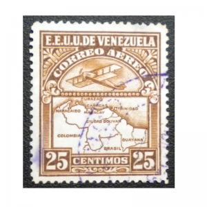 STAMP FROM VENEZUELA 1938-39. SCOTT # C 123 AIR MAIL. USED. ITEM 1