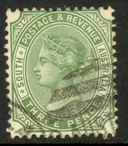 SOUTH AUSTRALIA 1895-97 QV 3d Olive Green Portrait Issue Sc 108 Used
